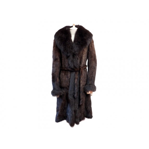 NEUF MANTEAU DE FOURRURE FEMME 38 M EN VISON TRICOTE MARRON BROWN FUR MINK COAT