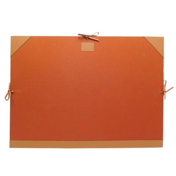 CARTON A DESSINS HERMES KALAKAAR TOILE ORANGE & CUIR VEAU SWIFT GOLD DRAWING BOX