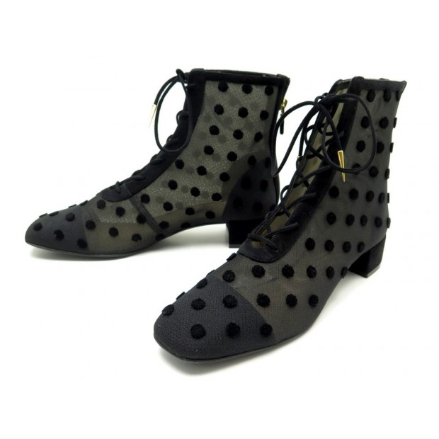 NEUF CHAUSSURES DIOR BABY-D VELVET DOTS KCI216VDES900 39.5 BOTTINES TOILE 1190€