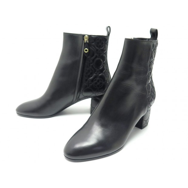 NEUF CHAUSSURES LOUIS VUITTON UPSTAGE ANKLE BOOTS 40 BOTTINES A TALONS CUIR 960€