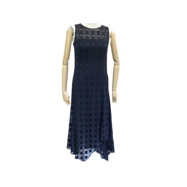 NEUF ROBE LONGUE AKRIS M 38 EN COTON BLEU MARINE NAVY BLUE COTTON DRESS 1490€