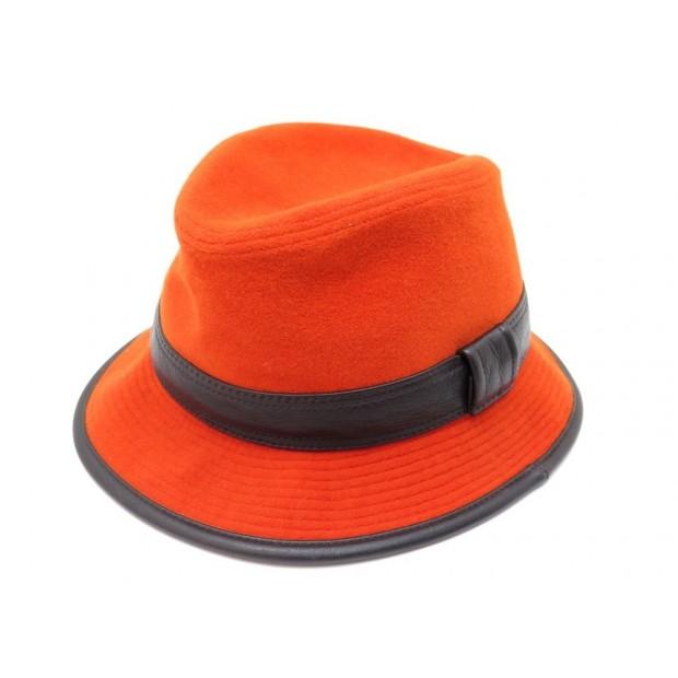 NEUF CHAPEAU HERMES 57 ANGORA LAINE ORANGE & CUIR NOIR BOB WOOL LEATHER HAT 555€