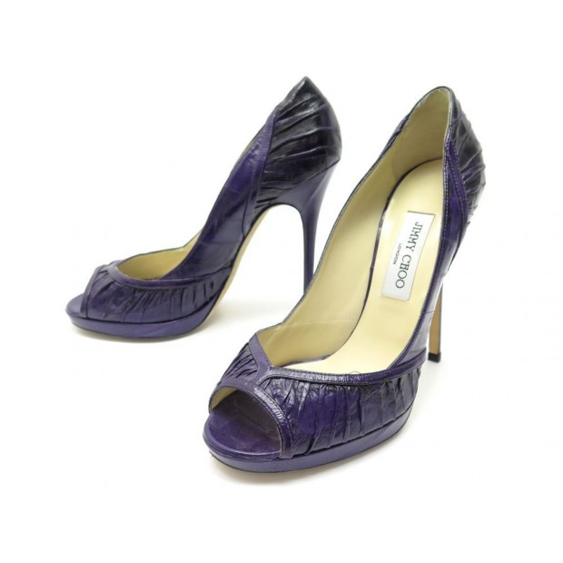 NEUF CHAUSSURES JIMMY CHOO 40 ESCARPINS EN CUIR ANGUILLE VIOLET PUMP SHOES 575€