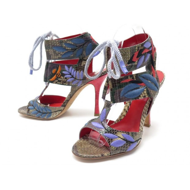 NEUF CHAUSSURES SERGIO ROSSI 39.5 40 FR SANDALES A TALONS CUIR PYTHON SHOES 550€