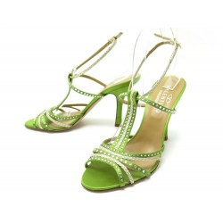 NEUF CHAUSSURES VALENTINO 40.5 SANDALES A TALONS SATIN VERT NEW PUMP SHOES 800€