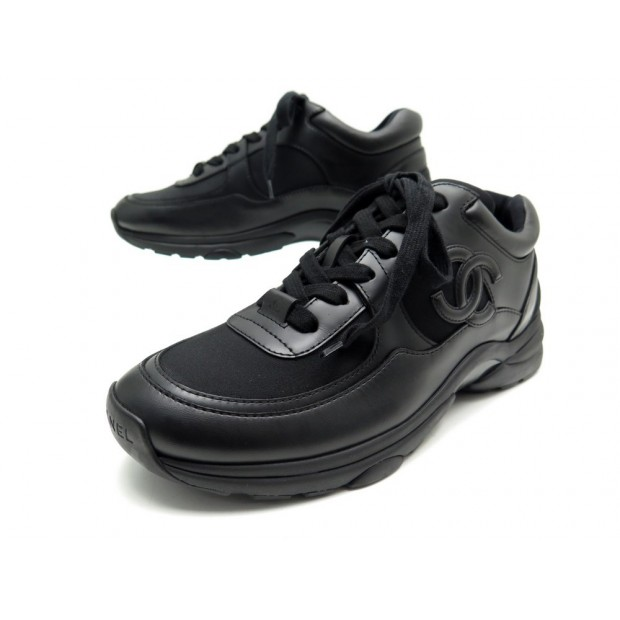 NEUF BASKETS CHANEL LOGO CC U03845 38 TOILE & CUIR NOIR SNEAKERS NEW SHOES 950€