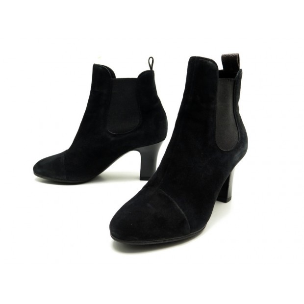 CHAUSSURES LOUIS VUITTON BOTTINES 36 EN DAIM NOIR BOOTS SUEDE BLACK SHOES 950€