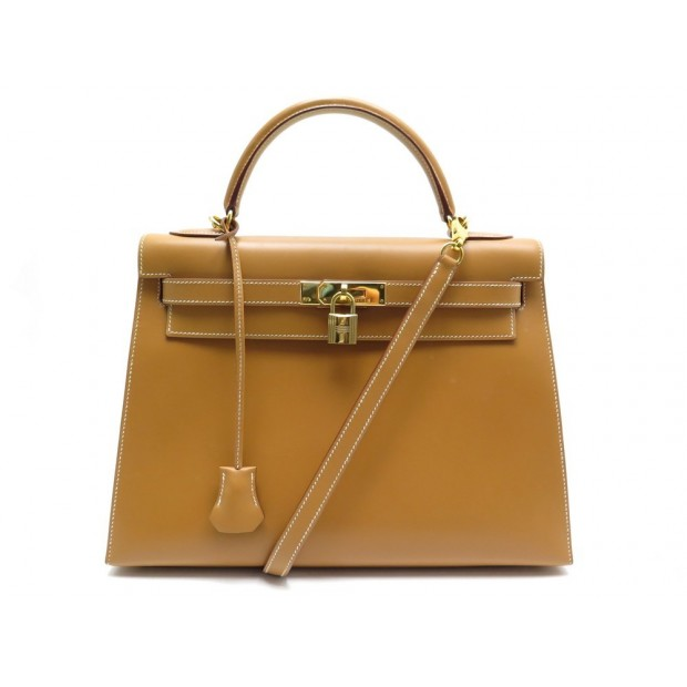 SAC A MAIN HERMES KELLY 33 SELLIER CUIR VACHE GOLD BANDOULIERE SELLIER HAND BAG