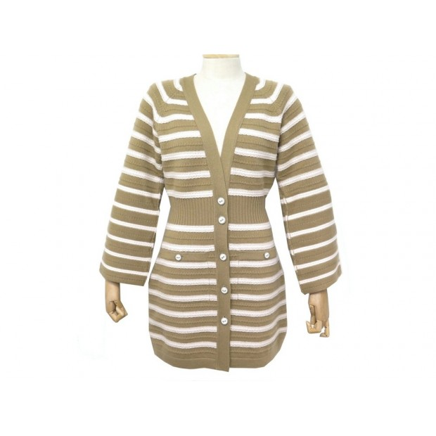 NEUF ROBE PULL CHANEL GILET LONG A RAYURES P51639 M 40 EN CACHEMIRE DRESS 3900€