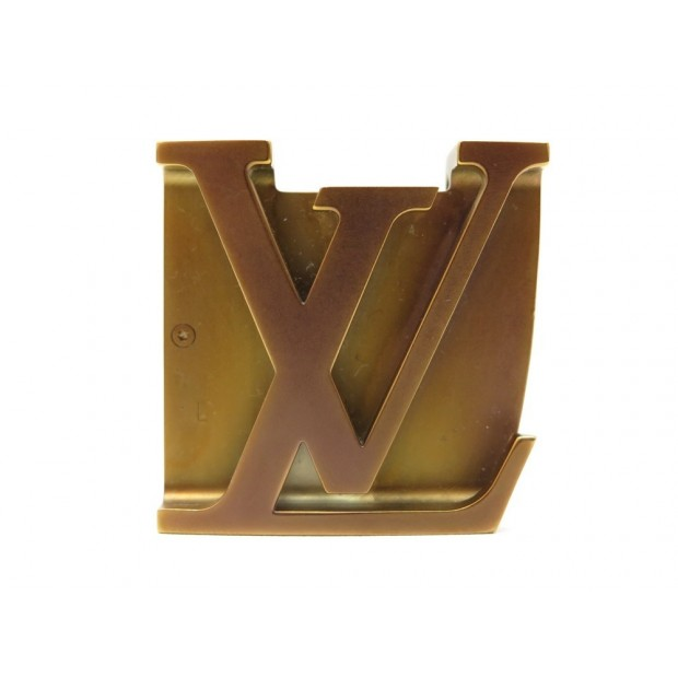 BOUCLE DE CEINTURE LOUIS VUITTON LOGO LV 40 MM EN METAL BRONZE BELT BUCKLE