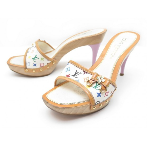 CHAUSSURES LOUIS VUITTON 36.5 SANDALES TOILE MONOGRAM MULTICOLORE MURAKAMI 650€