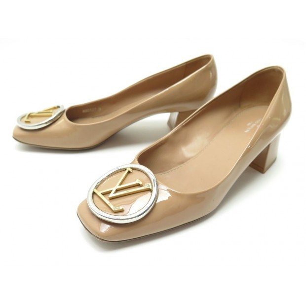 CHAUSSURES LOUIS VUITTON MADELEINE 38 ESCARPIN CUIR VERNIS BEIGE PUMP SHOES 750€