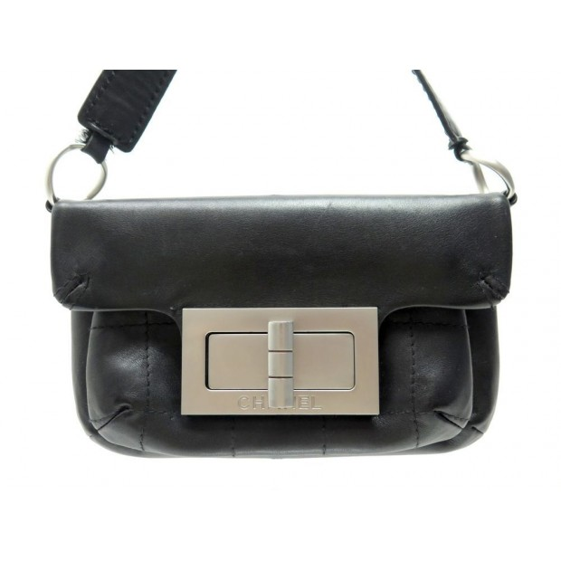 SAC A MAIN CHANEL POCHETTE FERMOIR MADEMOISELLE CUIR NOIR LEATHER HANDBAG 2300€