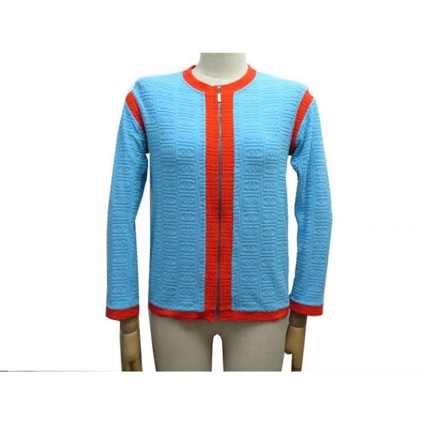 VESTE SPORT CHANEL LOGO CC P19454 T40 M EPONGE BLEU TERRY CLOTH ZIP JACKET 1500€