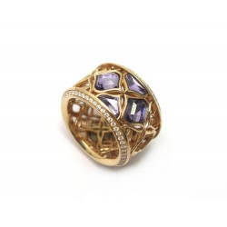 BAGUE CHOPARD IMPERIALE 829564 T54 EN OR ROUGE 58 DIAMANTS AMETHYSTES RING 8160€