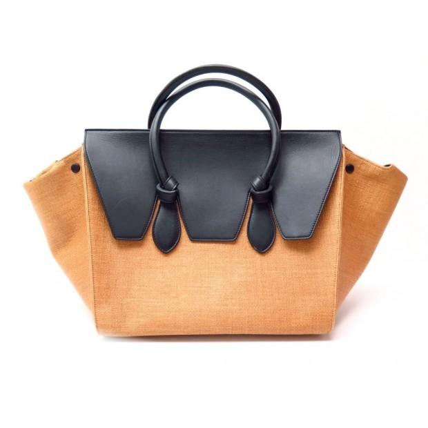 SAC A MAIN CELINE TIE BAG GM CABAS PAILLE JAUNE & CUIR NOIR HAND BAG 2350€