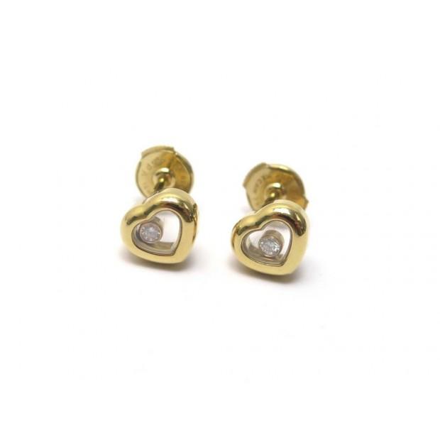 NEUF BOUCLES D'OREILLES CHOPARD HAPPY DIAMONDS ICONS 83A054 OR ET DIAMANTS 2270€