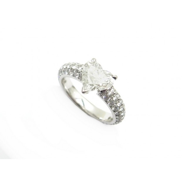 BAGUE T51 EN PLATINE SERTIE DIAMANT COEUR 1.3CT 103 BRILLANTS 1.35CT RING 18000€