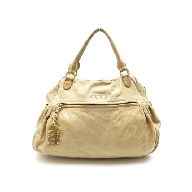SAC A MAIN MIU MIU CABAS TOTE 40 CM EN CUIR BEIGE LEATHER HAND BAG PURSE 1900€