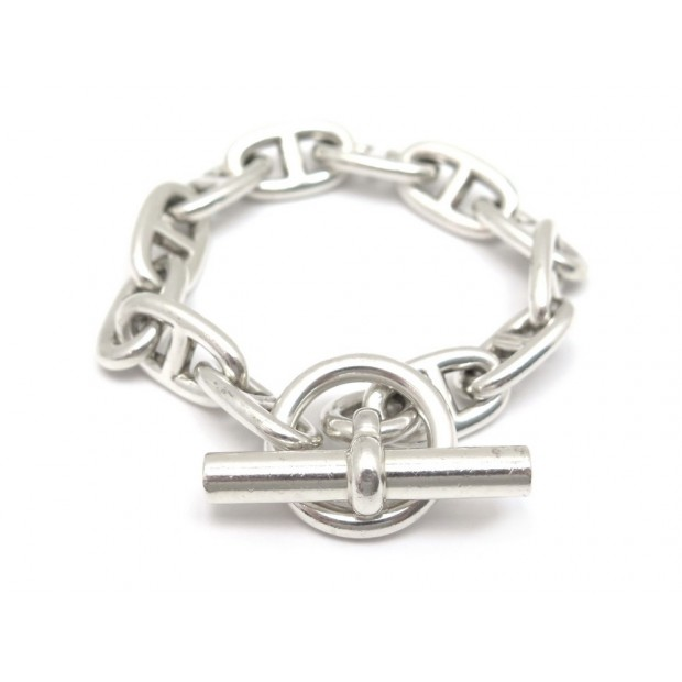 BRACELET HERMES CHAINE ANCRE GM 11 MAILLONS T19 ARGENT + BOITE SILVER JEWEL 970€