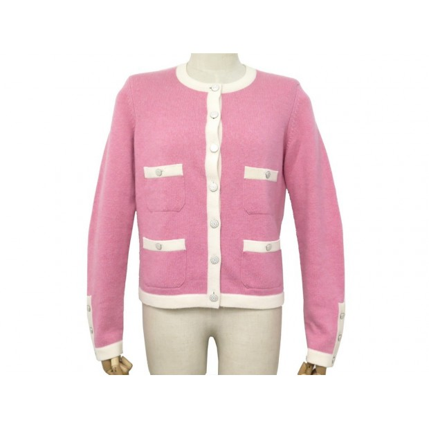 NEUF GILET CHANEL CARDIGAN P45623 BOUTONS CC L 42 CACHEMIRE ROSE PULL VEST 3900€