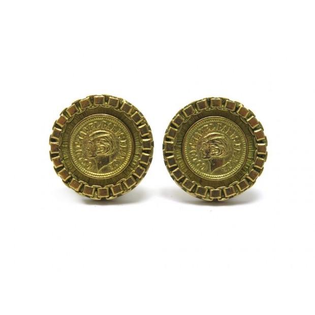 BOUCLES D'OREILLES CHANEL PORTRAIT COCO 1995 EN METAL DORE GOLDEN EARRINGS 570€
