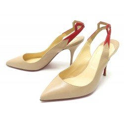 NEUF CHAUSSURES CHRISTIAN LOUBOUTIN 36.5 ESCARPINS EN CUIR BEIGE PUMP SHOES 575€