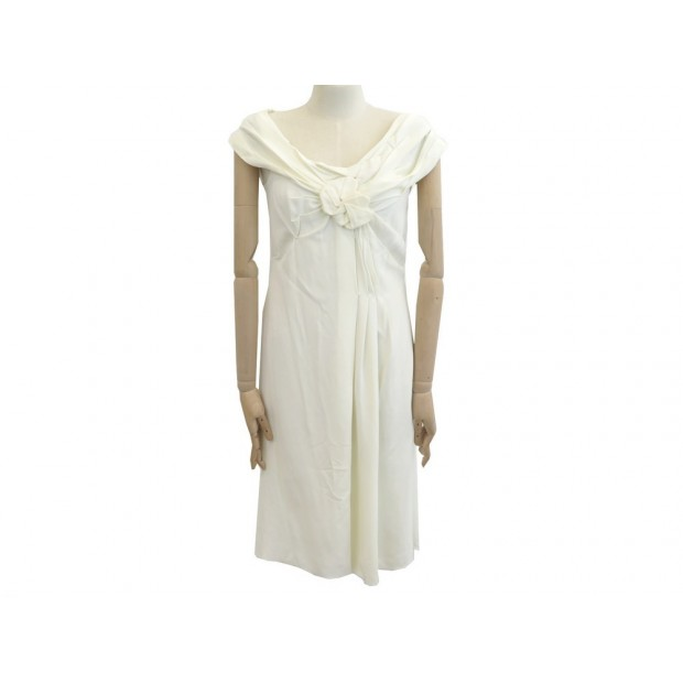 NEUF ROBE PRADA TAILLE 42 IT 38 M FR EN VISCOSE ECRU NEW DRESS 980€