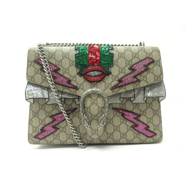 NEUF SAC A MAIN GUCCI 400235 DIONYSUS MM TOILE SUPREME GG SEQUIN BRODE BAG 2980€