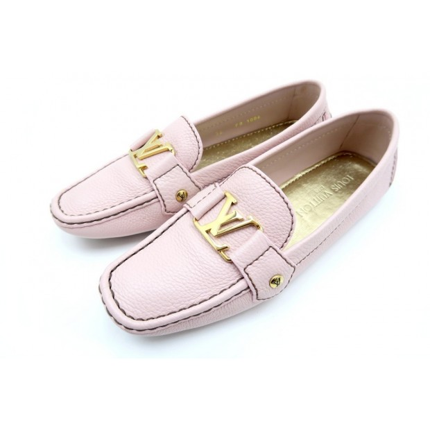 CHAUSSURES LOUIS VUITTON MOCASSINS MONTE CARLO 36 CUIR ROSE LOAFER SHOES 480€