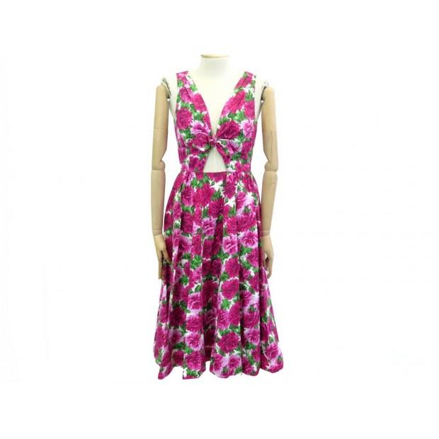 NEUF ROBE MICHAEL KORS PEONY 444AKE125 FLEURS T36 S COTON ROSE NEW DRESS 425€