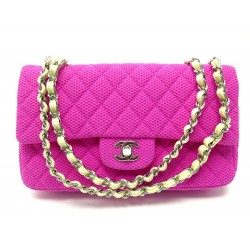 NEUF SAC A MAIN CHANEL TIMELESS M BANDOULIERE TOILE JERSEY PERFOREE ROSE 5640€