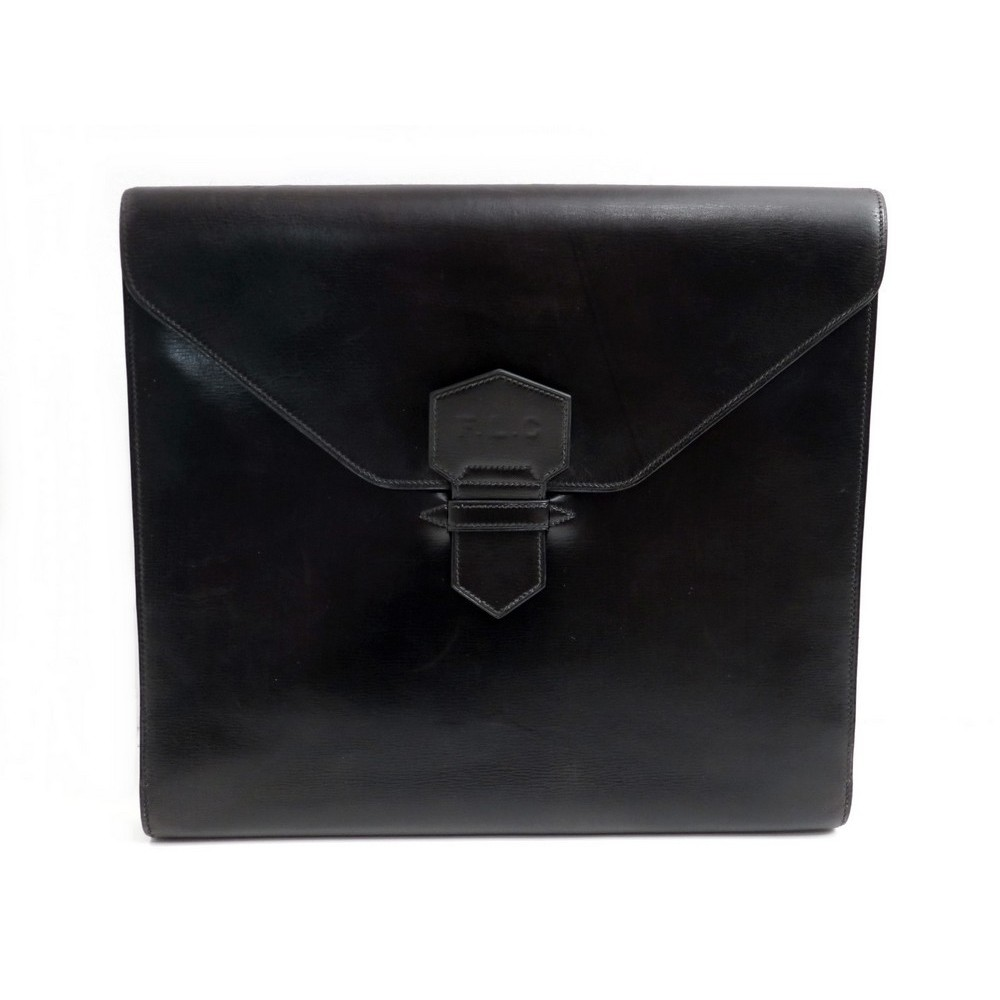 85b1b897a47e VINTAGE PORTE DOCUMENTS HERMES SACOCHE A MAIN 28 CM CUIR BOX NOIR HAND BAG  PURSE. Loading zoom