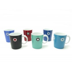 NEUF LOT DE 6 MUGS BERNARDAUD PAROS EN PORCELAINE MULTICOLORE TASSES CUPS 300€