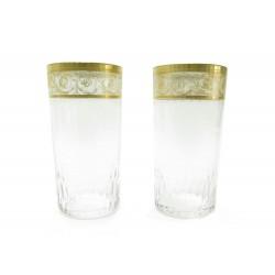 VINTAGE LOT DE 2 VERRES A ORANGEADE SAINT LOUIS THISTLE CRISTAL OR GLASSES 780€