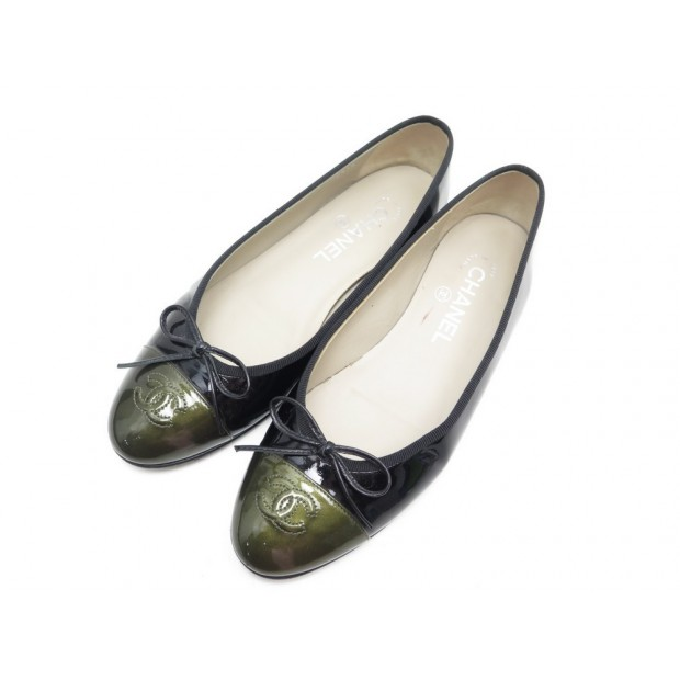 CHAUSSURES CHANEL BALLERINES LOGO CC G02819 38 CUIR VERNIS NOIR FLAT SHOES 640€