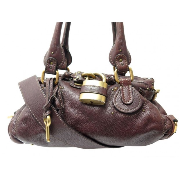 SAC A MAIN CHLOE PADDINGTON MM BANDOULIERE EN CUIR BORDEAUX HAND BAG PURSE 1150€