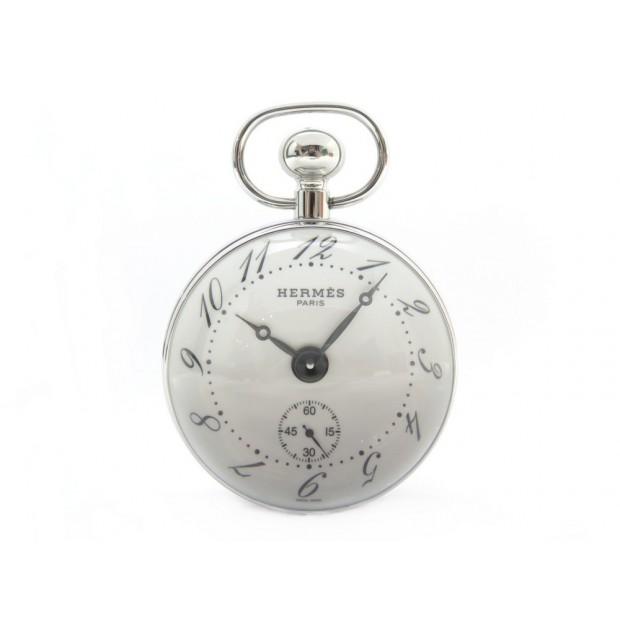 NEUF HORLOGE HERMES PENDULETTE BOULE PE-BO1.810 ACIER + BOITE CLOCK WATCH 3160€
