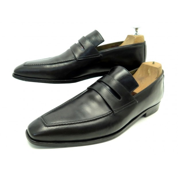 CHAUSSURES BERLUTI ANDY WARHOL 8.5 42.5 MOCASSINS CUIR NOIR LOAFERS SHOES 1650€