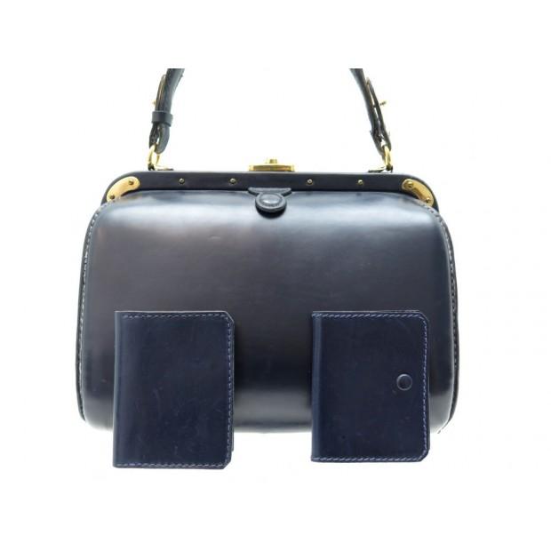 VINTAGE SAC A MAIN FERNANDE DESGRANGES POUR LEDERER CUIR BOX BLEU HAND BAG PURSE