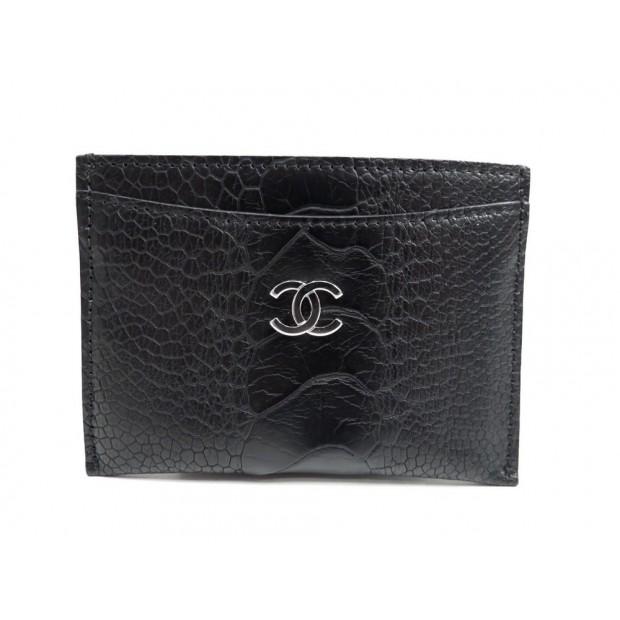NEUF PORTE-CARTES CHANEL EN CUIR FACON CROCO NOIR BLACK LEATHER CARD HOLDER 290€