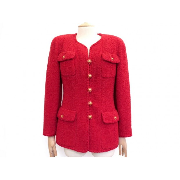 NEUF VESTE CHANEL BOUTONS LOGO CC TAILLE 42 L TWEED ROUGE NEW RED JACKET 4200€