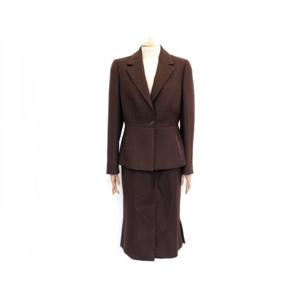 NEUF TAILLEUR PRADA VESTE ET JUPE 46 IT 40 FR EN LAINE MARRON NEW WOOL TAILOR