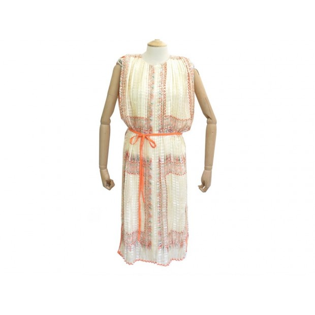 NEUF ROBE CHLOE MI LONGUE 13SR088 S 36 EN SOIE BEIGE MID LONG SILK DRESS 2550€