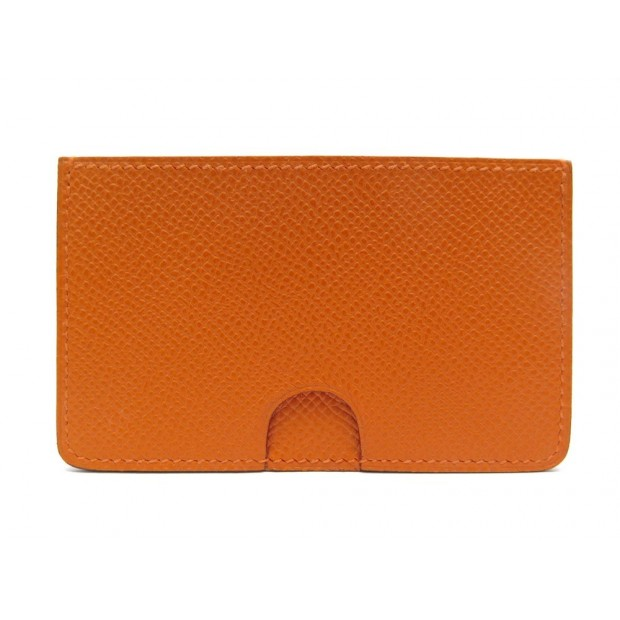 NEUF PORTE CARTES HERMES EN CUIR EPSOM ORANGE NEW LEATHER CARD HOLDER 450€
