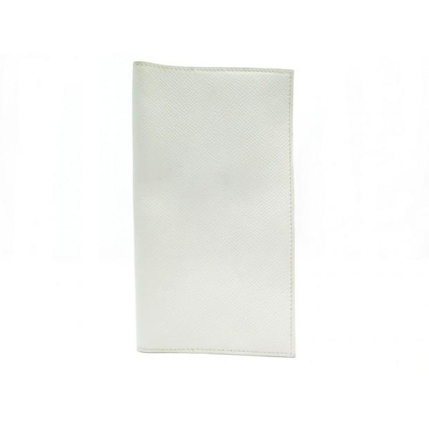 PORTE CHEQUIER HERMES EN CUIR GRAINE EPSOM BLANC WHITE LEATHER CHECKBOOK HOLDER