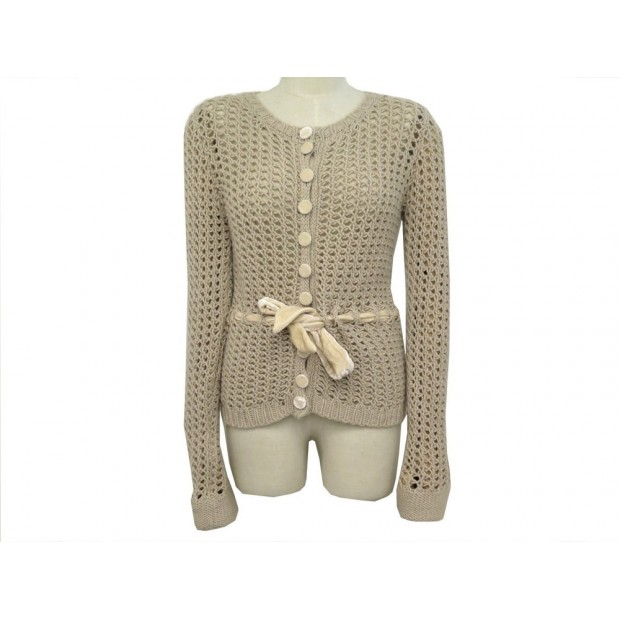 NEUF PULL LOUIS VUITTON MAILLE T40 M CACHEMIRE TAUPE NEW CASHMERE SWEATER 1300€