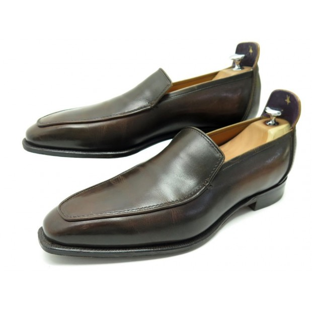 CHAUSSURES CORTHAY BRIGHTON 10 44 MOCASSINS EN CUIR MARRON LOAFERS SHOES 1650€