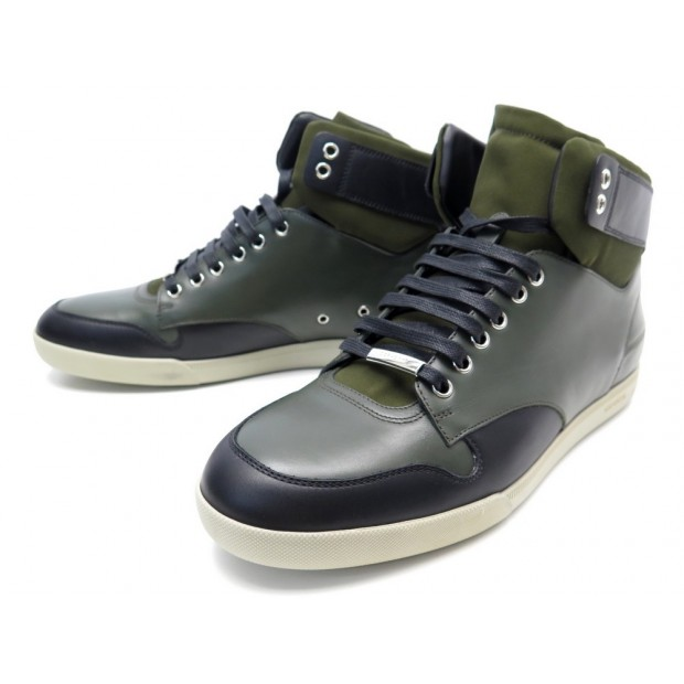 NEUF CHAUSSURES DIOR HOMME SNEAKERS MONTANTES 42.5 BASKETS CUIR VERT +BOITE 590€