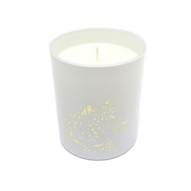 NEUF BOUGIE PARFUMEE CARTIER PANTHERE EN PORCELAINE BLANC 9CM + BOITE NEW CANDLE